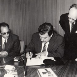 Federal Minister of Economic Cooperation Eppler Germany 1969 Signing an Agreement for Economic Cooperatio