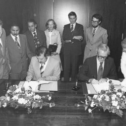 German Ministerial Secretary van Well 1978-1 Signing Agreement on Funding of Mineral Explorations